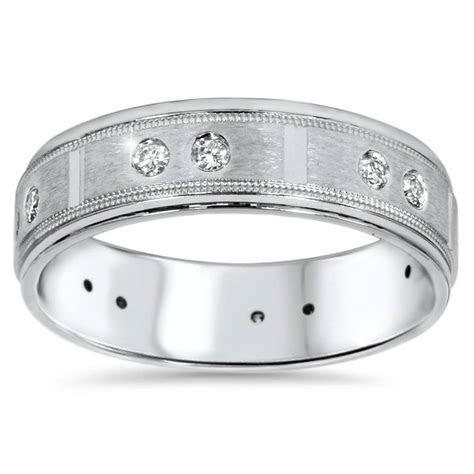 1/4ct Mens Diamond 6mm Wedding Ring 14K White Gold