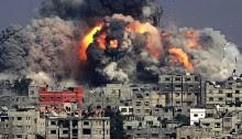 بمباران پر تراکم ترین محل زندگی انسان ها در جهان - غزه
