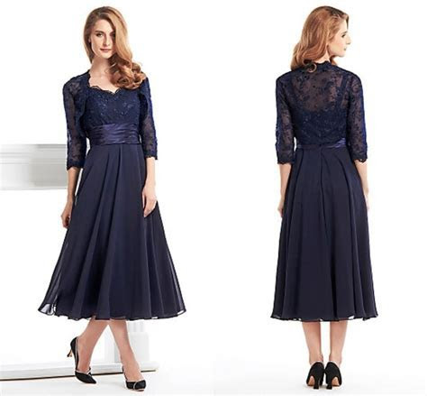 Elegant Tea Length Mother Of The Bride Groom Dress With