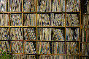 Vinyl record collection at student-run CKMS st...