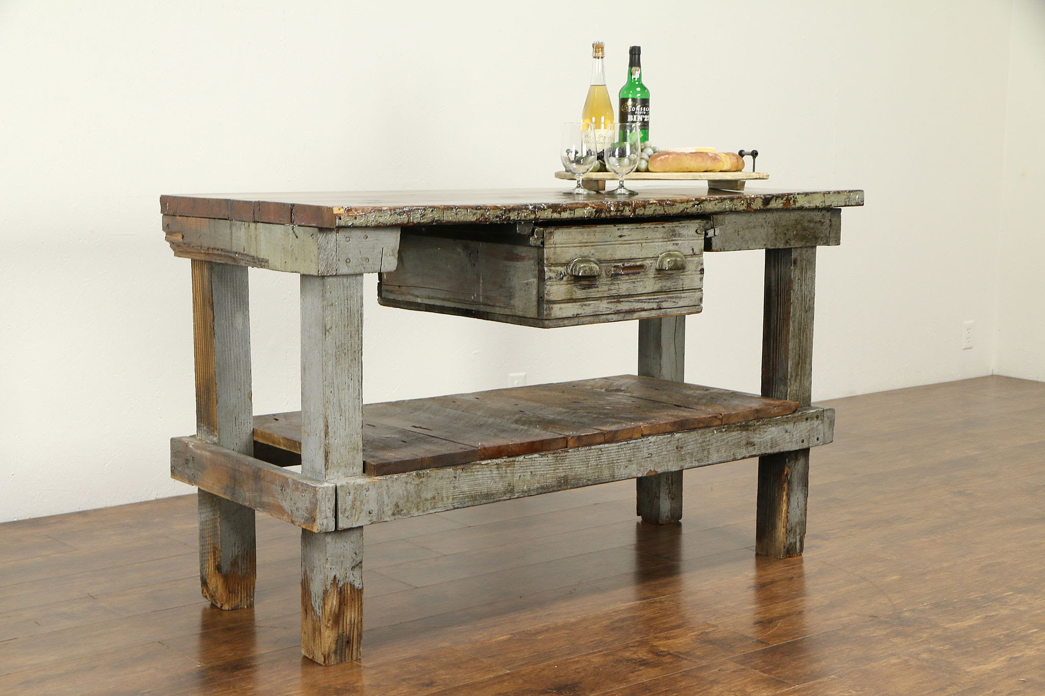 Sold Primitive Country Pine Workbench Kitchen Island Or Wine Cheese Table 32123 Harp Gallery Antiques Furniture