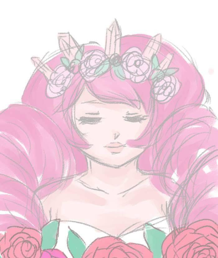Another doodle, because apparently I don't want to go to sleep yet. Anyways… has this been done yet? Rose Quartz… with roses… and rose quartzes? In her hair? XD Recently I fell in love with those...