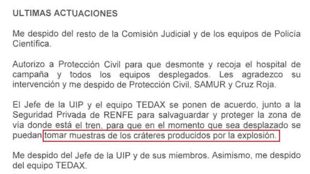 """Fragmento del informe del Comisario del CNP Jorge Zurita, responsable de las primeras intervenciones policiales en Téllez. Se llega incluso a """"salvaguardar y proteger la zona"""" de la que se tomarán las muestras del cráter."""
