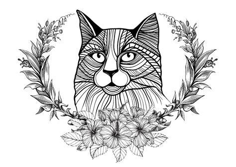 cat  laurel wreath cats adult coloring pages