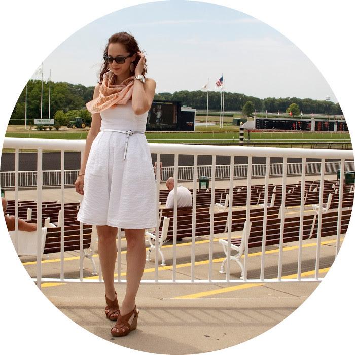 dashdotdotty dash dot dotty races horsetrack white dress j.crew scarf outfit blog arlington