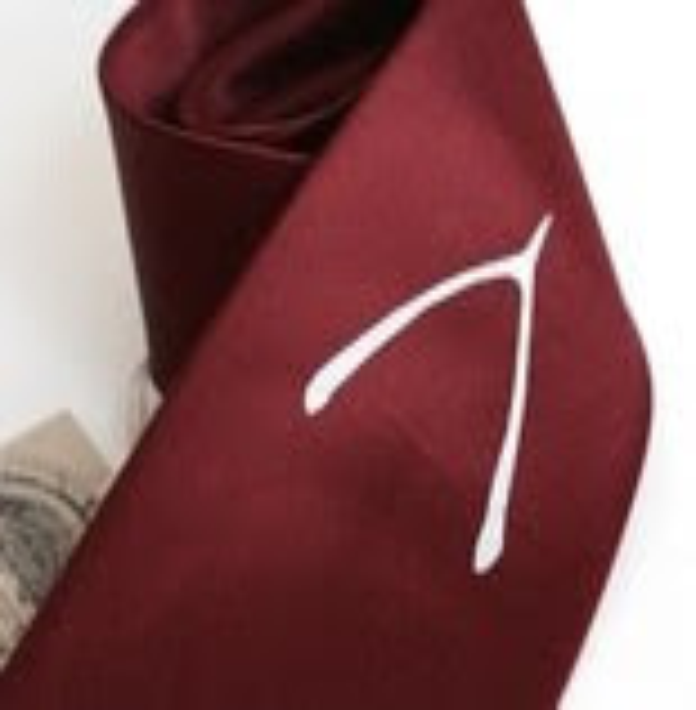 Wish, screenprinted microfiber necktie with wishbone, silver ink