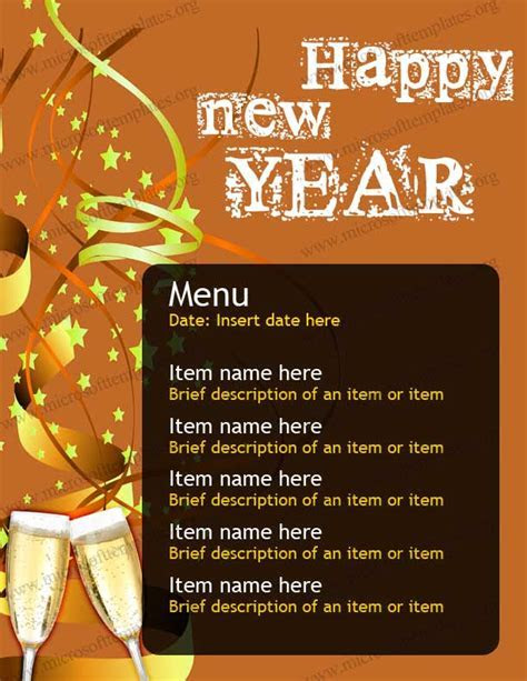 New Year Party Menu Template   Free Menu Templates   MS