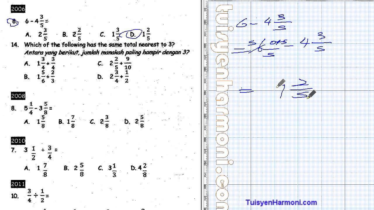Contoh Soalan Matematik Pecahan Tahun 6 Soalan Bi
