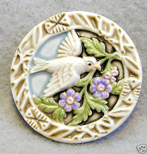 ButtonShop.ca - Handcrafted Art Stone Button Dove w Sprig of Flowers