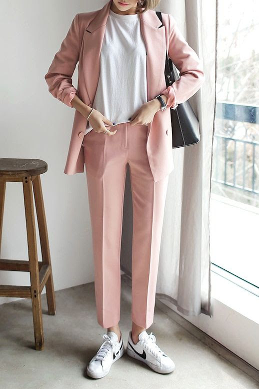 Le Fashion Blog Light Pink Pant Suit White Tee Watch Black Tote Bag White Nike Sneakers Via Dahong
