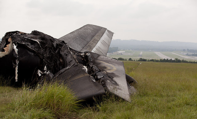Rear view of horizontal stabilizer from UPS flight 1354.