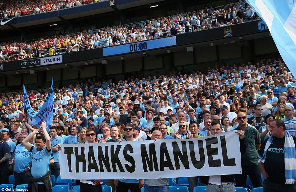 Another banner which reads 'Thanks Manuel' is displayed at the Etihad prior to kick-off in Sunday's Premier League match