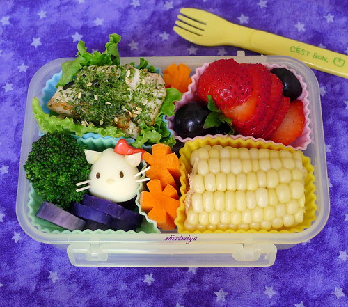 Furikake Snapper Hello Kitty Quail Egg Bento by sherimiya ♥