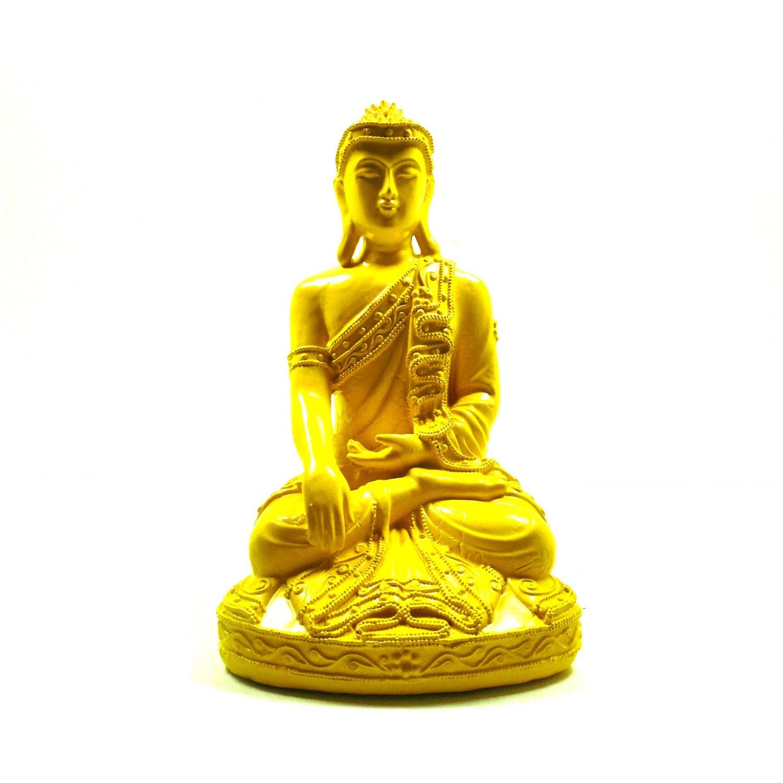 yellow buddha statue thai home decor zen painted decor by nashpop