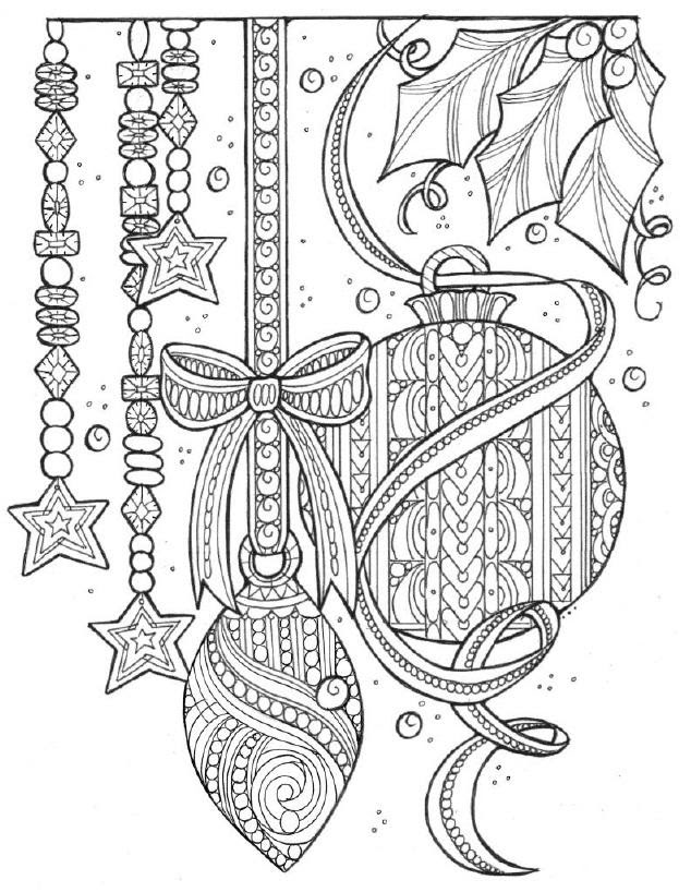 Magical Christmas Tree Adornments Coloring Page ...