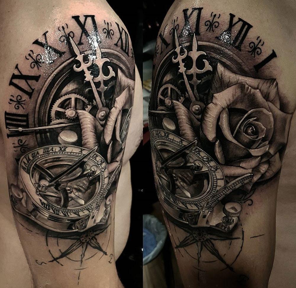 Clock Sundial Compass Rose Mens Shoulder Piece Best Tattoo