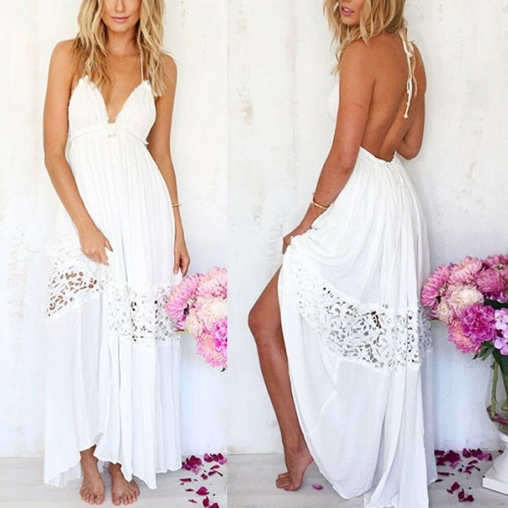 women sexy summer boho lace long maxi evening party dress