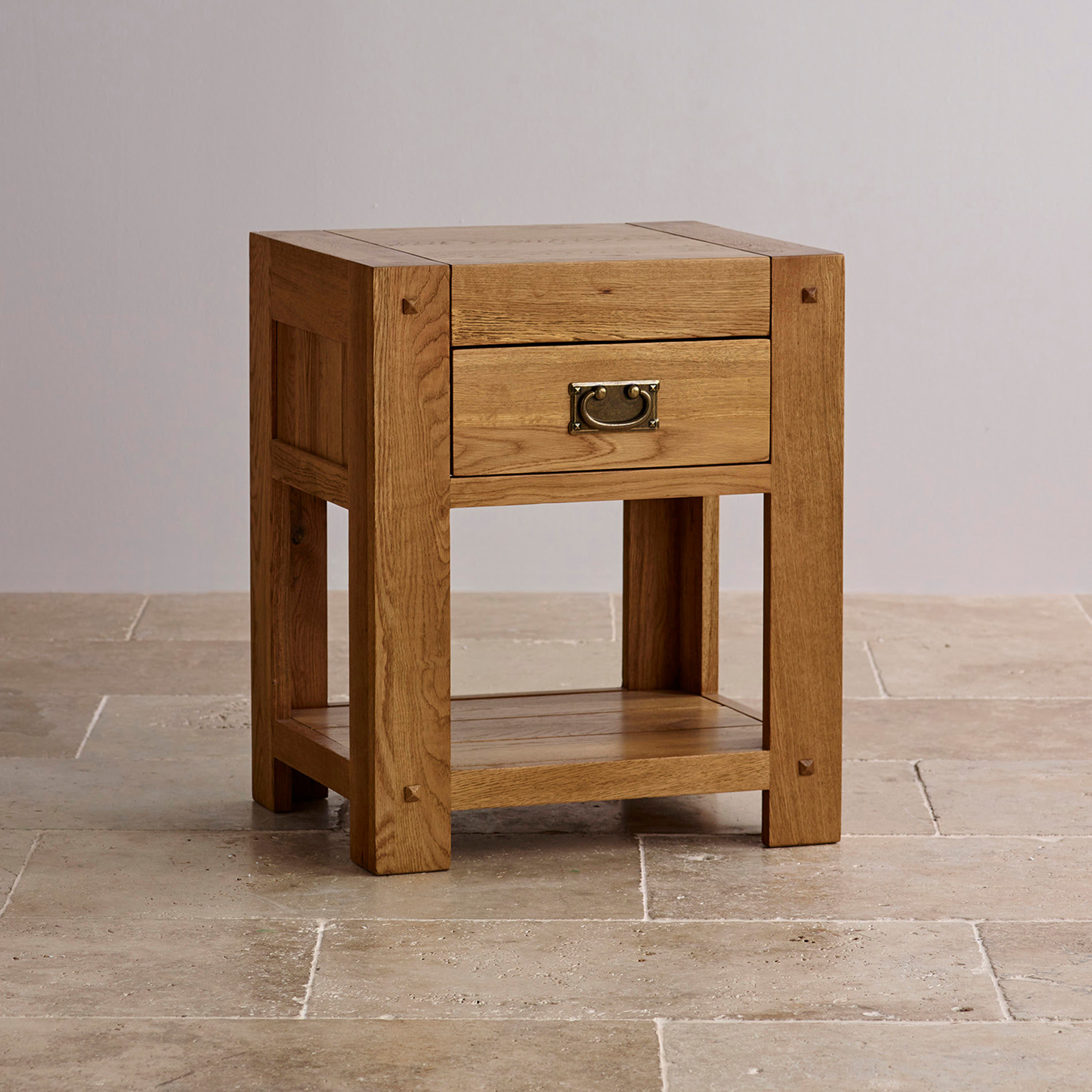 Quercus 1 Drawer Bedside Table | Rustic Solid Oak