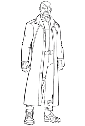 nick fury director of the s h i e d agency coloring page  free printable coloring pages
