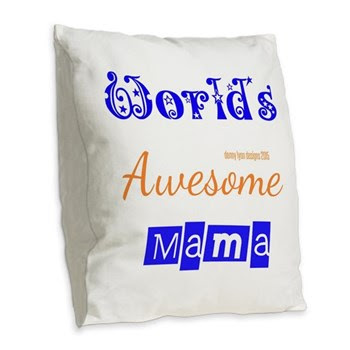 World's Awesome Mama Burlap Throw Pillow