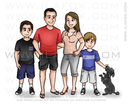Caricatura desenho, família, desenho personalizado de família, by ila fox