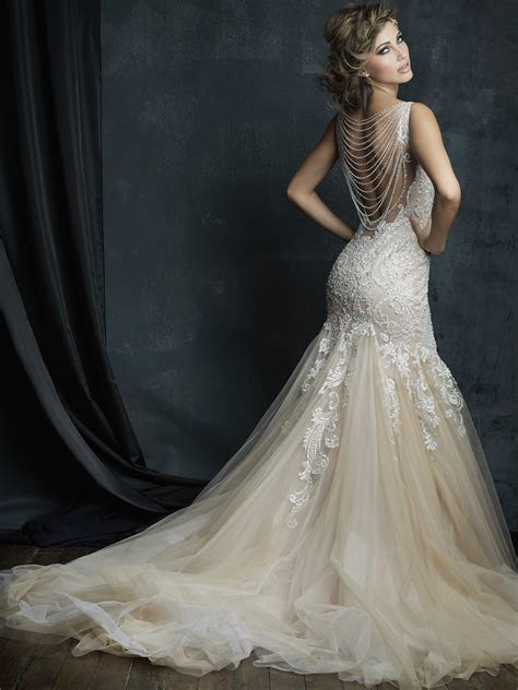 Allure Bridals Couture C388 V neck Fit And Flare Wedding