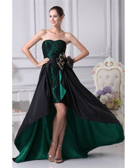 Black and Hunter Green Strapless Lace Bow Wedding Dress in