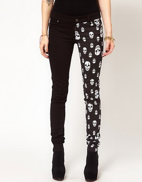 Image 1 of Tripp NYC Jeans With Split Leg Skull Print