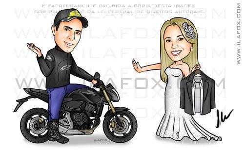 Caricatura casal, colorido, noivo na moto, noiva segurando terno de noivo, caricatura para casamento by ila fox