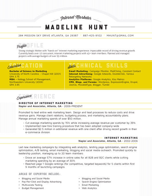 Resume Template  Market Square Yellow  Loft Resumes