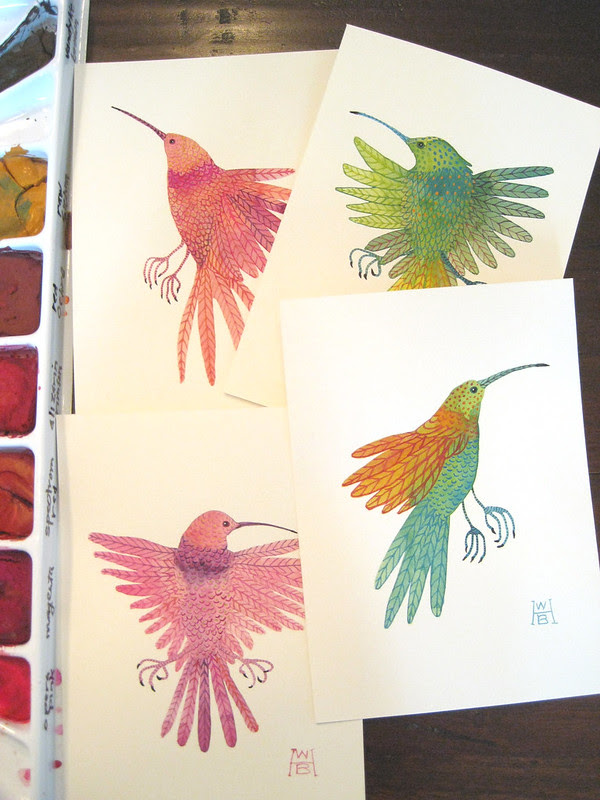 collection of tiny hummingbirds