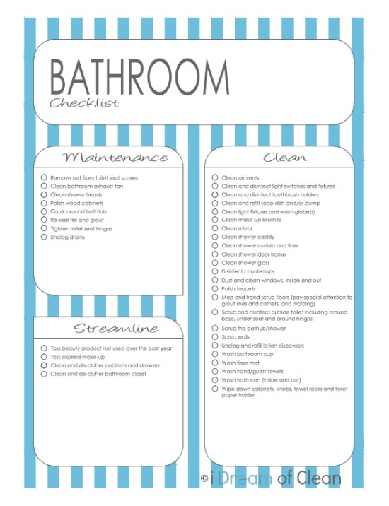 Free Bathroom Cleaning Checklist Printable - 24/7 Moms