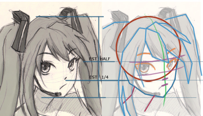 Vocaloid Miku drawing tutorial