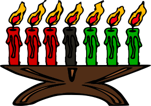 Kwanzaa candles (Kinara) cartoon-like image. T...