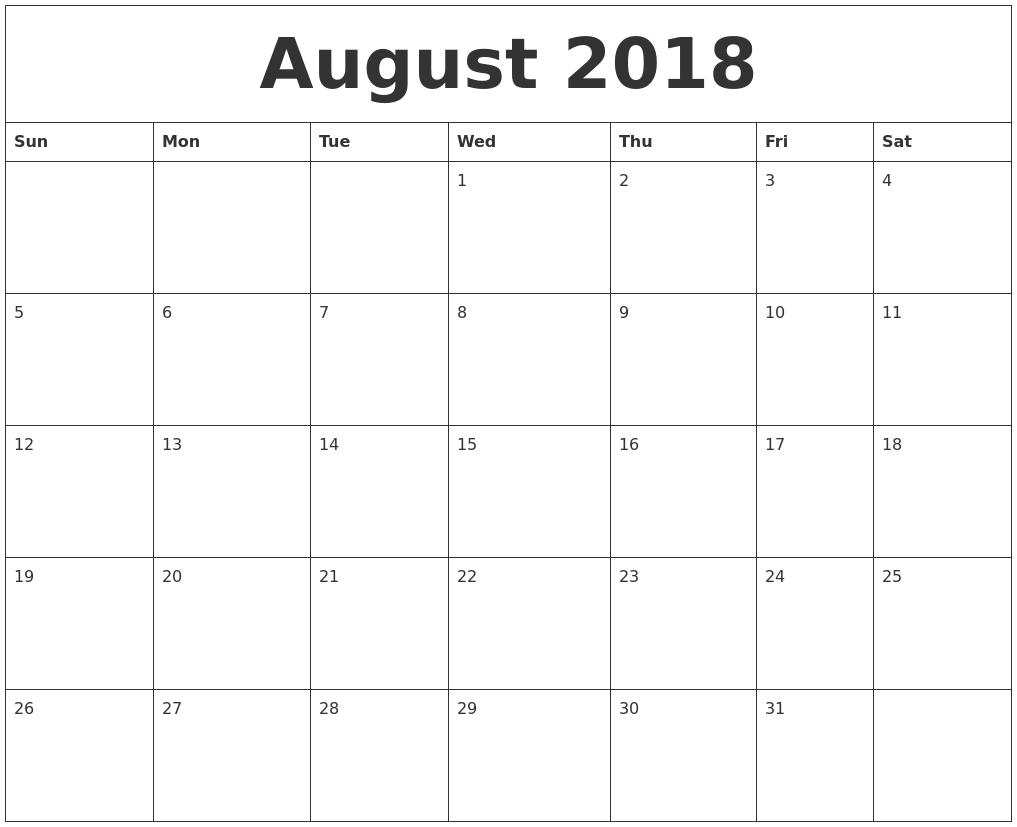 august 2018 word calendar
