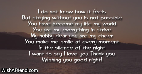 I Do Not Know How It Good Night Message For Husband