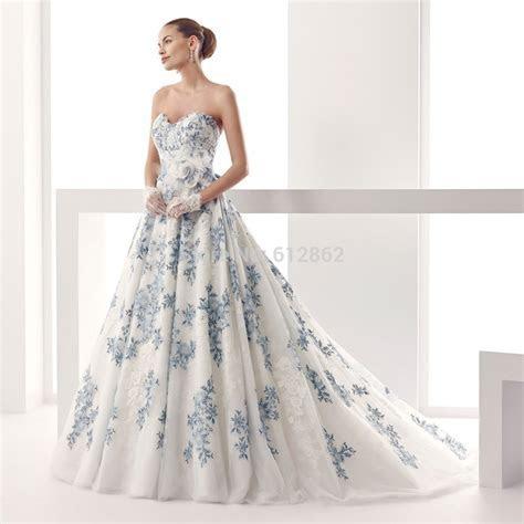 White And Blue Wedding Dress   Dress Ty