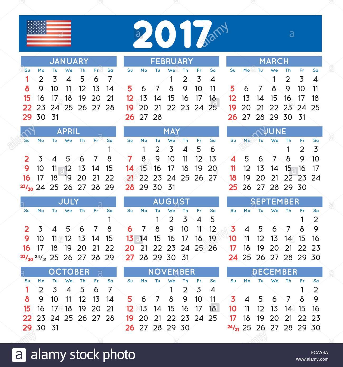 2017 Elegant Squared Calendar. Year 2017 Calendar. Calendar 2017 Stock