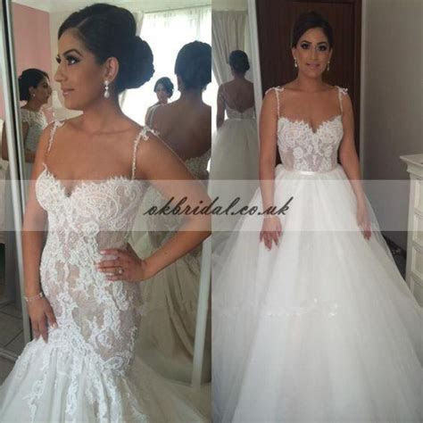 Detachable Lace Charming Bridal Dress, Backless Tulle