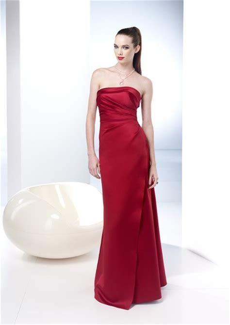 Elegant Sheath Strapless Long Red Silk Summer Wedding