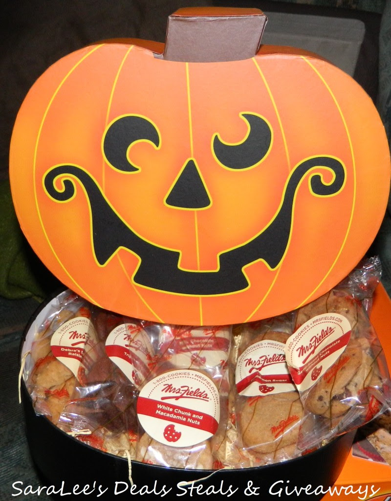 Enter to win a Mrs. Fields Jack O' Lantern Box full of cookies. Ends 11/3.