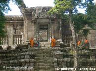 Monks gather at the Preah Vihear temple on the border between Cambodia and Thailand.