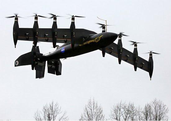 NASA testa avião elétrico com 10 motores