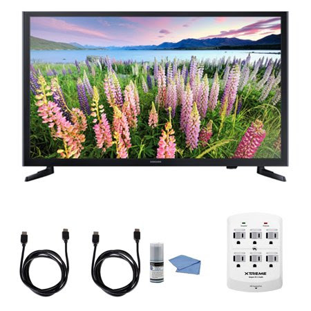 Samsung UN32J5003 - 32-Inch Full HD 1080p LED HDTV + Hookup Kit - Includes HDTV, 6 Outlet Wall Tap Surge Protector with Dual 2.1A USB Ports, HDMI Cable 6' and Performance TV\/LCD Screen Cleaning Kit