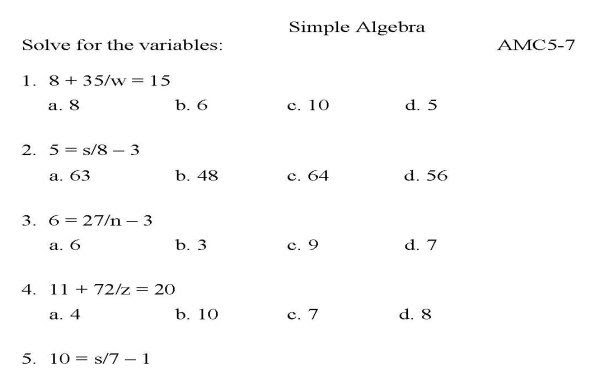 Algebra 7th Grade Math Equations