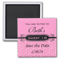 Pink on White Polka Dot Sweet 16 Party Invitation magnet