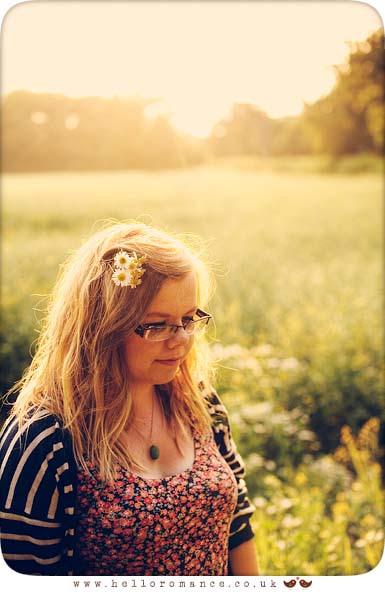 Girl with Daisies in her hair Sunset On Location Portrait Vintage Alternative Photography Suffolk Stowmarket www.helloromance.co.uk