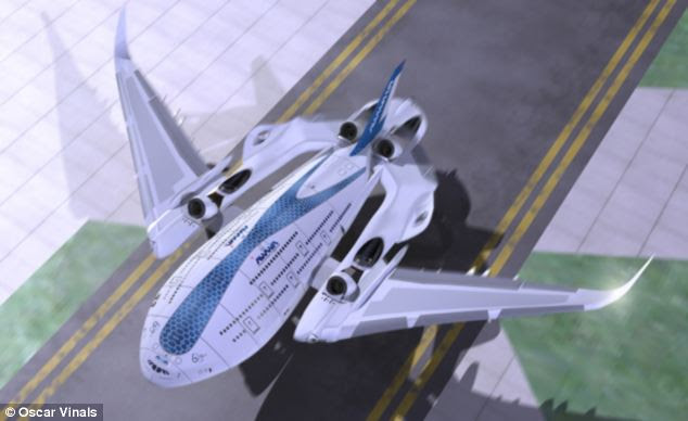 Called Sky Whale, the concept plane, pictured, is set to be bigger than an Airbus A380, look like a spacecraft and have 'self-healing' wings. The engines would tilt 45 degrees meaning the plane could land on runways anywhere in the world. It was created by Spanish designer Oscar Vinals