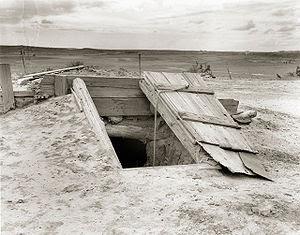 Storm cellar on the Texas plains.