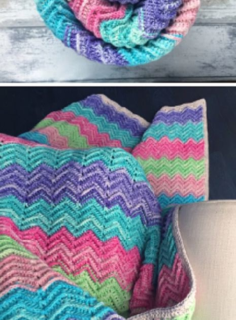 Cool Creativities Textured Chevron Blanket Free Crochet